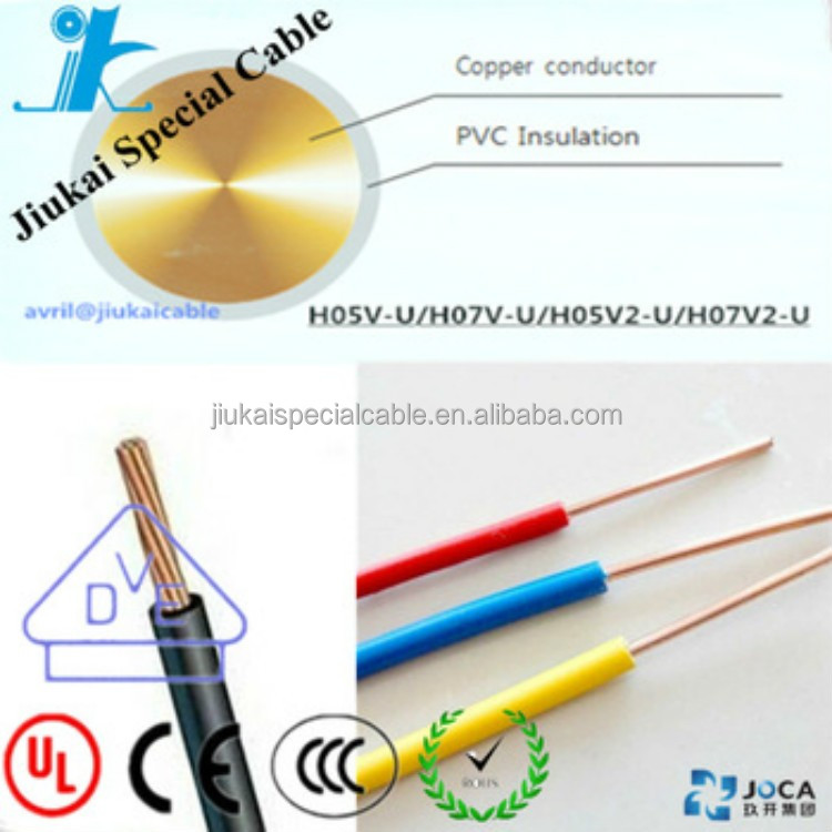 CE Standard H07V2-U 1.5mm copper conductor pvc insulation electric cable