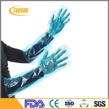 Plastic / PE Disposable Veterinary Gloves With Shoulder Length Gloves For Beauty Salon