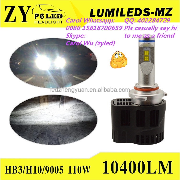 TOP 1 Bright headlights ZY P6 Led Headlight Bulbs 55W H4 H7 H8 H11 H16 9006 9005 9007 9004 auto car led off road headlights