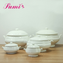 Wholesale price cheap soup tureen, chinese white ceramic tureen with lid