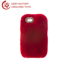 Plush Case Phone Cover Red Diamond Rex Rabbit Fur Phone Shell Plush Bunny Warm Fluffy Protective Shell For Oppo