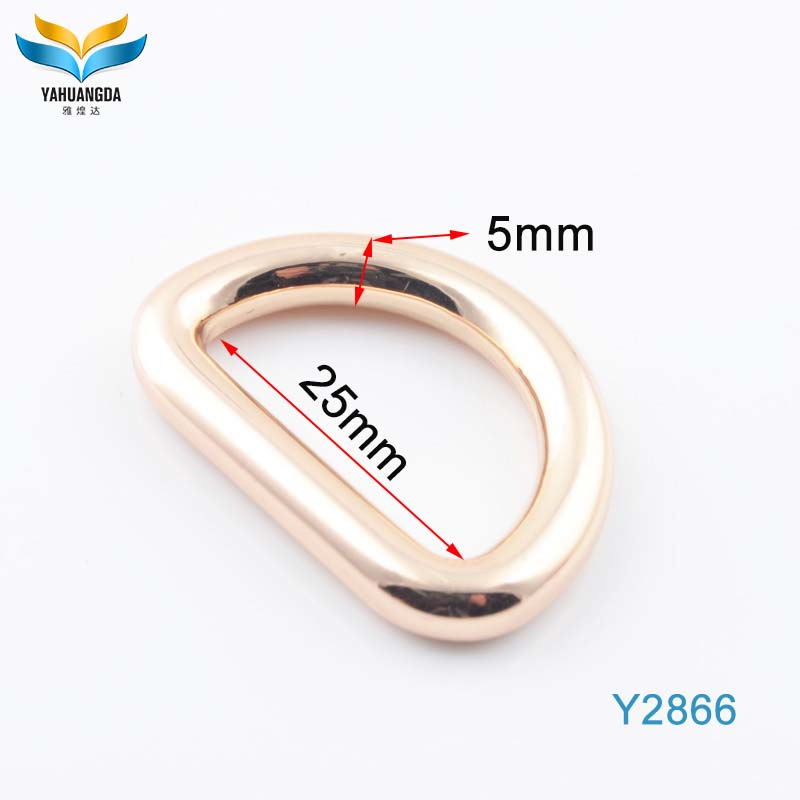 fashion purse clasp light gold color handbags hardware custom metal zinc alloy d ring for bag webbing strap