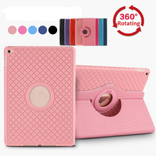 for iPad Air Plaid Grid PU Leather Stand Flip Case 360 Rotating Smart Cover with Soft TPU inner Shell for iPad 5