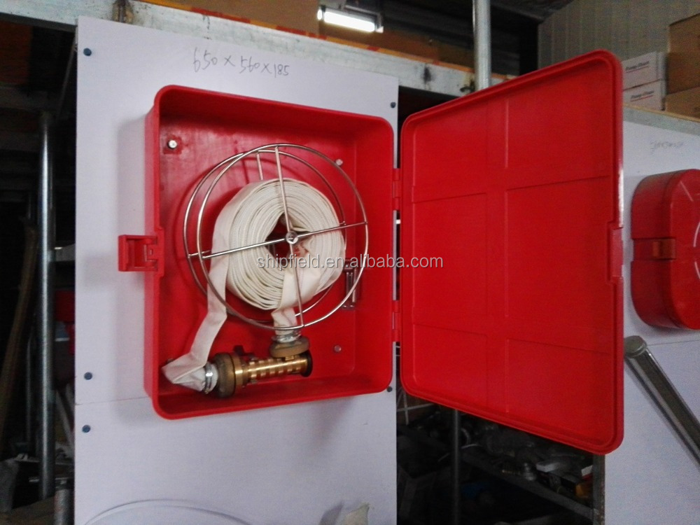 Glass fiber reinforced plastic fire hose box for vesel
