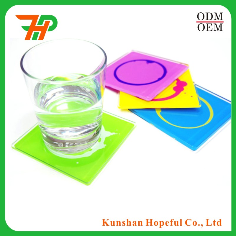 custom factory clear photo plastic drink acrylic coaster