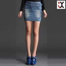 2015 top quality fashion washed women cheap denim jeans skirt (JXCY0068)