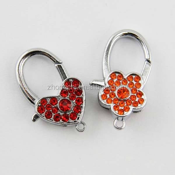 key chain rhinestone flower and heart shaped double lobster clasp