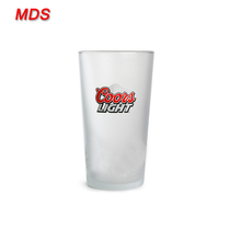 Printed custom light branded frosted beer glass 20 ounce