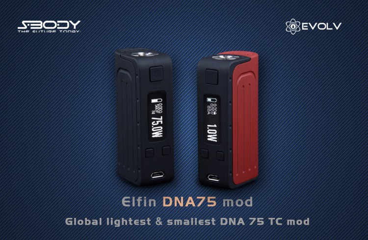 New products 2016 Elfin mod vape e cigarette dna 75w box mod wholesale