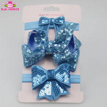 Stocking Baby Girls Sparkle Sequin Elastic Bow Knot Headband Infant Toddlers Baby Large Bow Turban Headband