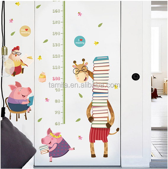 Fashion kids height growth chart wall sticker/Giraffe wall chart for baby learning/height measurement kid cartoon sticker