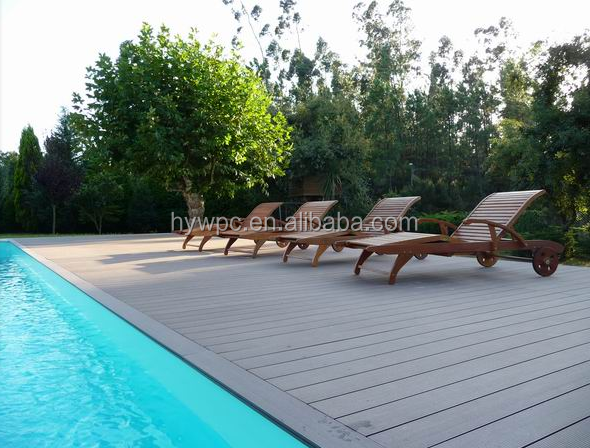 Outdoor swimming pool Wood Plastic Composite flooring