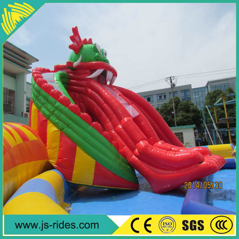 High quality cheap inflatable dragon slide water park for sale