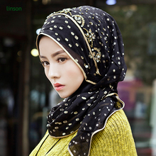 2017 New Design Black color square muslim hijab /Tudung from Crystal