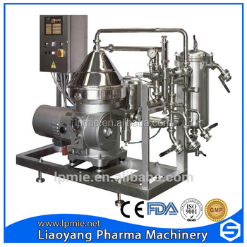 Disc centrifuge separator for latex concentration
