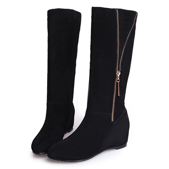 new 2014 fashion occident style genuine leather metal yellow zipper knight knee long boots round head low heel women boots