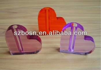 Heart shaped acrylic table center;Pen holder;Office decor;