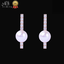 <strong>A02</strong> Best selling product custom logo jewelry fashion fresh water pearl earring diamond pearl gold earring