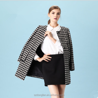 2015 new arrival winter autumn women coat wool poncho trench jacket grid manteau overcoats for women