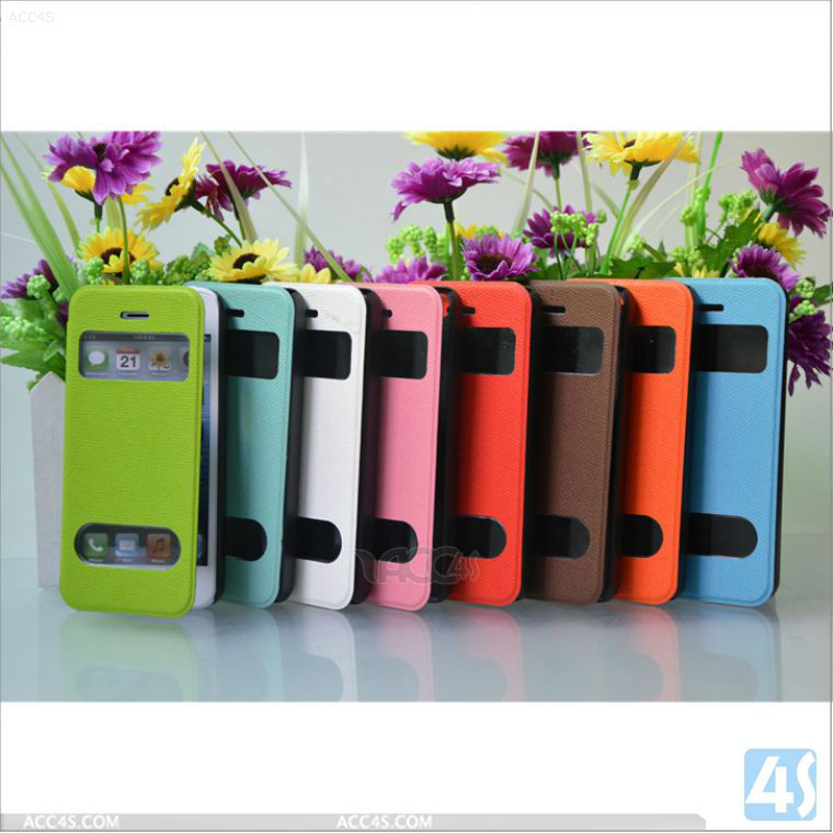 Dual Window Leather Cell Phone Case for Apple iPhone 5C P-IPH5CCASE036