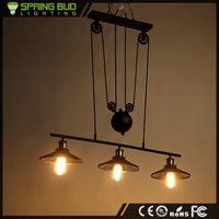 Hot New Products For 2016 three arms hanging vintage iron pendant light with pulleys