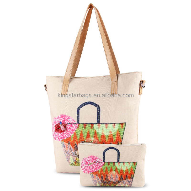 12oz Canvas Bags Wholesale Leather Handles With Removable Zipper Pouch