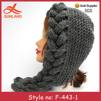 F-443 new chunky knit women earflap hat for winter