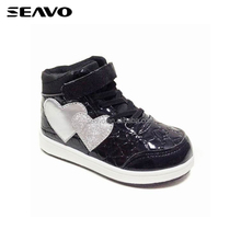 SEAVO SS17 fashion kids middle-cut patent PU injection children skate board shoes