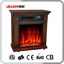 LED Infrared Quartz Wooden Electric Fireplace no heat with Brown Color MDF Mantel
