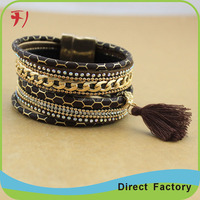 wholesale modern jewelry double wrap fashion leather bracelet buckle with push button
