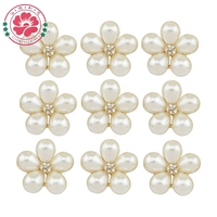 569 24mm Flat Back Flower Shape Pearl Buttons Decoration For Wedding/Phone/Hair Accessories Alloy Rhinestone Button