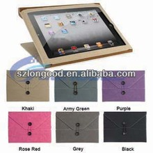 Soft Envelope Button Clip PU Leather Case Cover Pouch for ipad 2 3 4 Choose from 6 Color