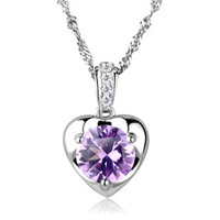 Wholesale SILV 100% Sterling 925 Silver Necklaces & Pendants Heart Amethyst Pendant Fine Jewelry FREE SHIPPING