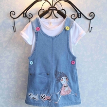 MS63822C cartoon emoji t shirts with denim overall kids girls clothing
