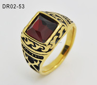 2016 Jewelry Wholesale Fashion Stainless Steel Jewelry Red Rhinestone Ring