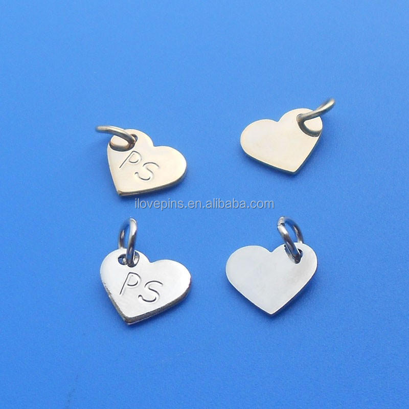 heart shape nimi metal tag charms for shoes/clothes