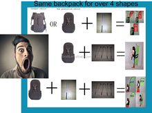 Advertising Backpack display system, buy one backpack get 4 Shapes Flag