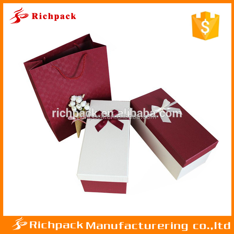 Square large small USB hard disk gift packaging box with ribbon