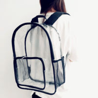 New Arrival Promotional Fashion Clear PVC Backpack Women Outdoor Travelling Backpack