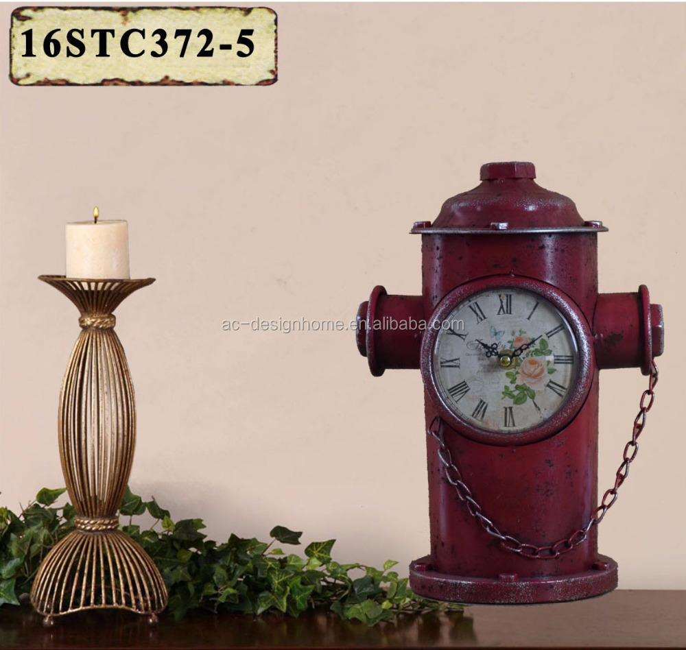 ANTIQUE RED METALFIRE HYDRANT SHAPE TABLE TOP CLOCK