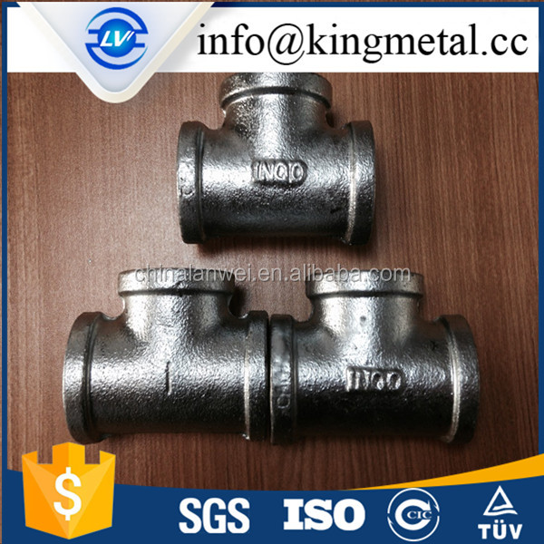 Hot dipped galvanized Malleable Iron Pipe Fittings Tee