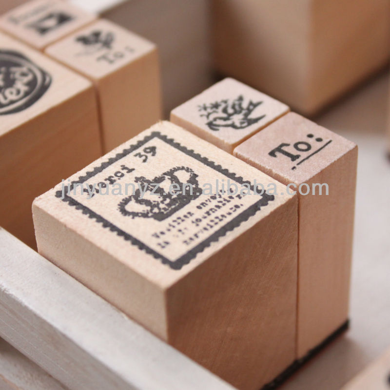 The hot selling and new fashion style custom mini wooden stamps for kids