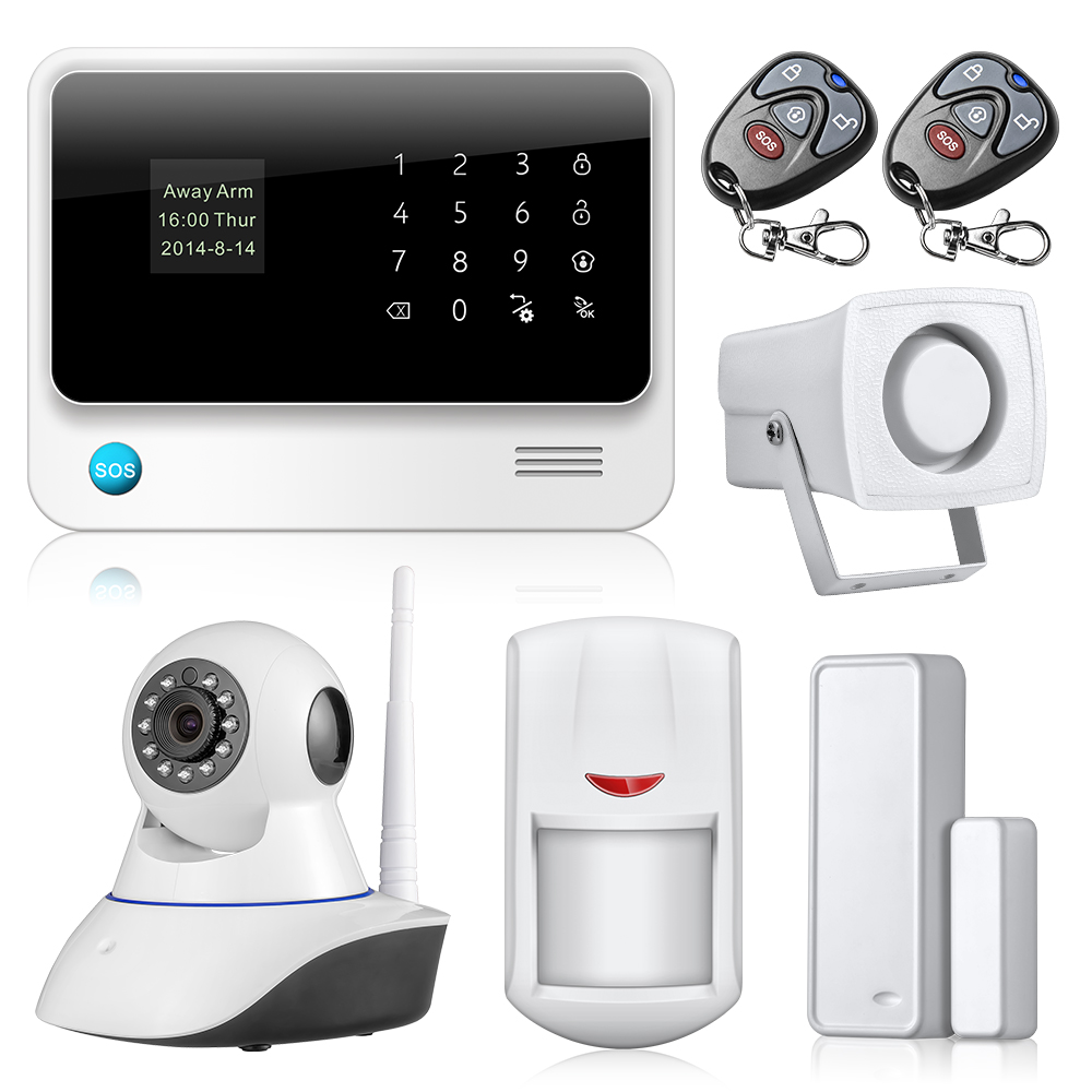 WiFi GSM LCD Home Burglar Alarm System Security + Solar Outdoor Siren+IP Camera