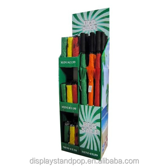 China made low price cardboard umbrella display stand in retailing stores