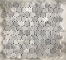 "Factory direct sell Carrara White Marble Italian 1"" Hexagon Mosaic floor/wall Tile"