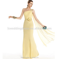 HC4190 The Whole Sale Floor Length One Shoulder Waterfall Back Beaded Sequin Yellow Girl Party Dresses For Cocktail