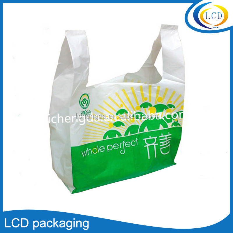Custom Large T-shirts Carry-out Thank You Bags Plastic Grocery Retail Bag
