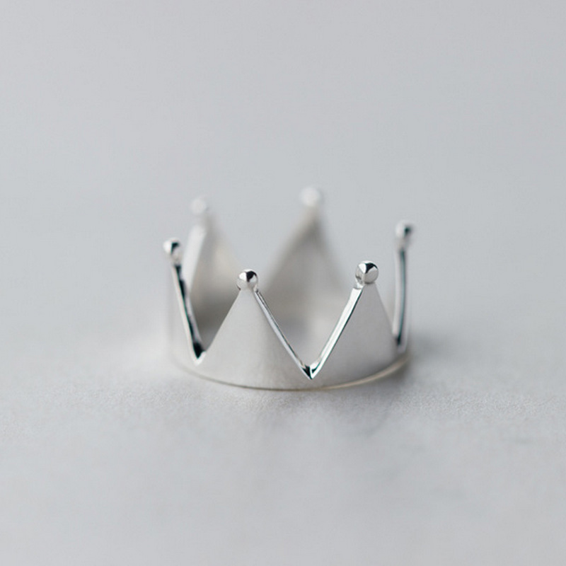 Fashion New 925 Sterling silver crown Shape Open Rings