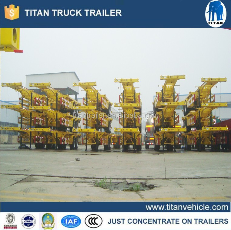 China frame 40ft/20ft skeleton container semi trailer for sale