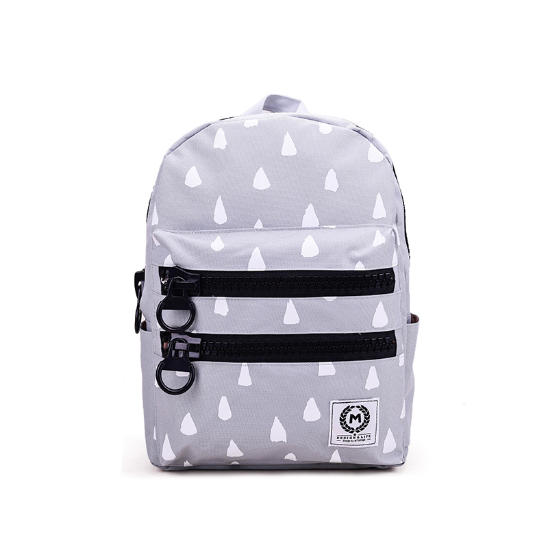 New high-capacity zippered school backpack in black white color for wholesale